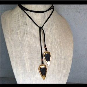 Gold Dipped Agate Arrowhead Necklace Lariet